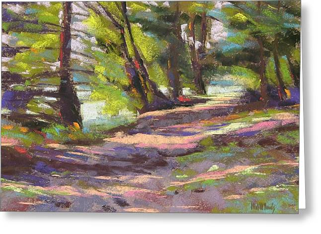 Camping Pastels Greeting Cards - Wildcat Lake Trail Greeting Card by Mary McInnis