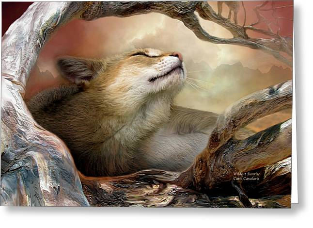 Wildcats Mixed Media Greeting Cards - Wildcat Sunrise Greeting Card by Carol Cavalaris