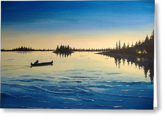 Canoe Greeting Cards - Wilderness Camp Greeting Card by Norm Starks