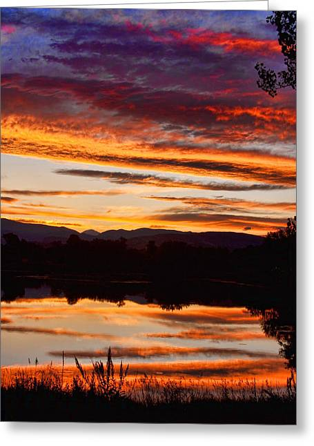 Sunset Greeting Cards Greeting Cards - Wildfire Sunset 1V  Greeting Card by James BO  Insogna