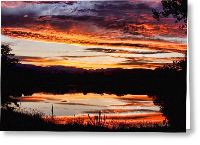 Sunset Greeting Cards Greeting Cards - Wildfire Sunset Reflection Image 28 Greeting Card by James BO  Insogna