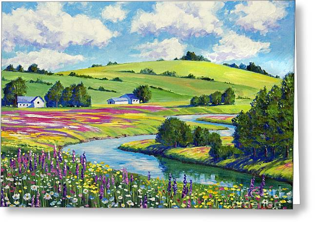 River. Clouds Greeting Cards - Wildflower Fields Greeting Card by David Lloyd Glover