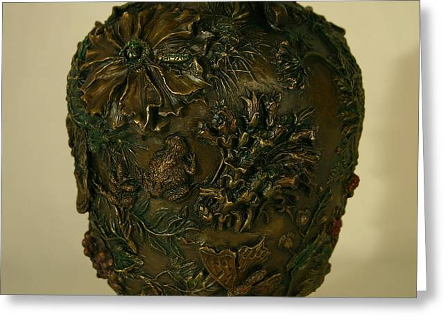 Grass Reliefs Greeting Cards - Wildflower Vase Detail Greeting Card by Dawn Senior-Trask
