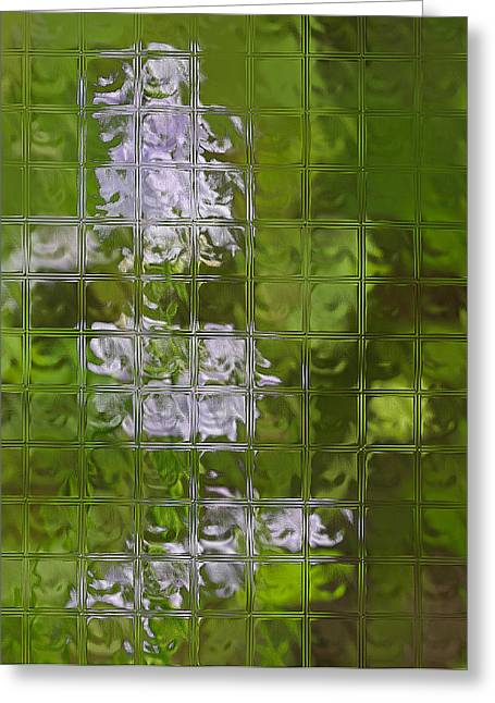 Wildfowers Greeting Cards - Wildflowers Through Glass Block Wall Greeting Card by Linda Phelps