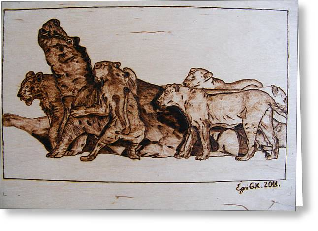 Lions Pyrography Greeting Cards - Wildlife Africa-the original wood pyrography Greeting Card by Egri George-Christian