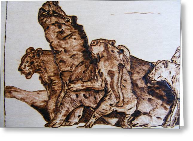 Lions Pyrography Greeting Cards - wildlife Africa-wood carving pyrography Greeting Card by Egri George-Christian