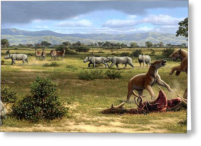 Miocene Greeting Cards - Wildlife Of The Miocene Era, Artwork Greeting Card by Mauricio Anton