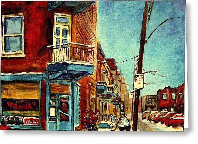 Classical Montreal Scenes Greeting Cards - Wilenskys Corner Fairmount And Clark Greeting Card by Carole Spandau