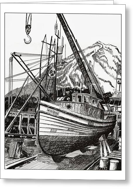 Fishing Boats Drawings Greeting Cards - Will Fish Again Another Day Greeting Card by Jack Pumphrey