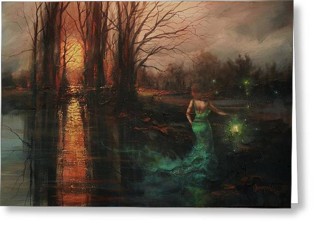 Ghostly Paintings Greeting Cards - Will-o-the-wisp Greeting Card by Tom Shropshire