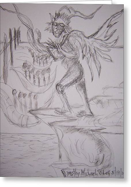 Ledge Drawings Greeting Cards - Will These Wings Work Greeting Card by Timothy  Foley