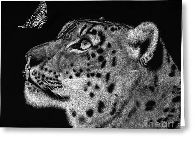 Leopard Drawings Greeting Cards - Will You Be My Friend Greeting Card by Sheryl Unwin