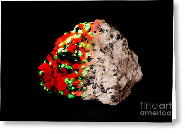 Ultraviolet Light Greeting Cards - Willemite In Uv Lightwhite Light Greeting Card by Ted Kinsman