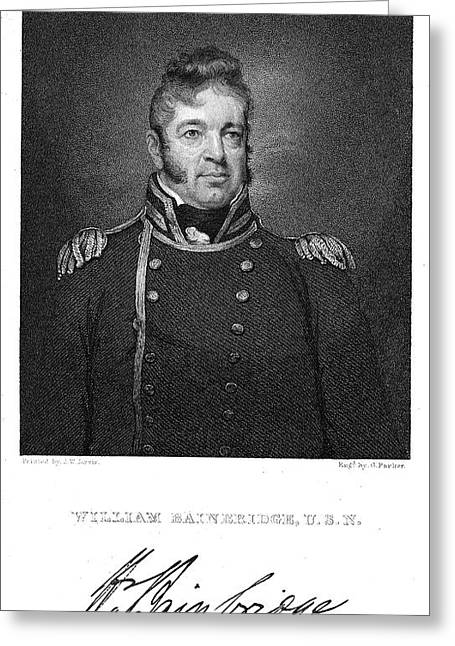 Sideburns Greeting Cards - WILLIAM BAINBRIDGE  (1774-1833). American naval officer. Steel engraving after a painting, 1814-15, by John Wesley Jarvis Greeting Card by Granger