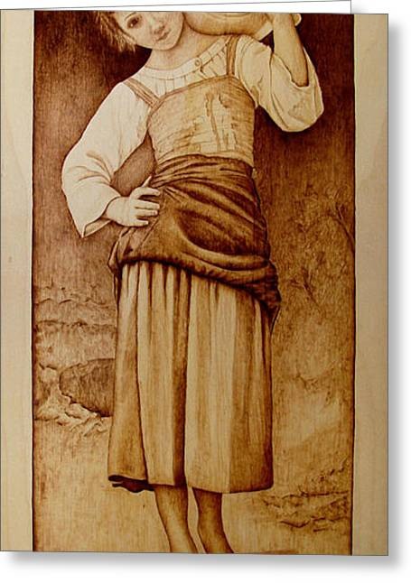 Woodburnings Pyrography Greeting Cards - William Bouguereau Water Carrier Greeting Card by Jo Schwartz