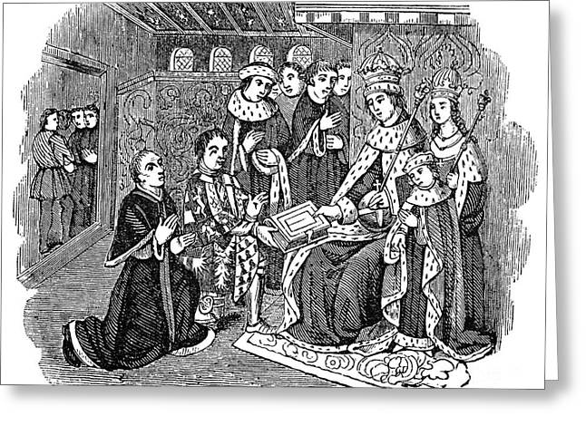 Queen Consort Greeting Cards - WILLIAM CAXTON (c1421-1491) Greeting Card by Granger
