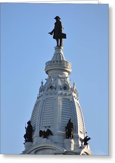 William Penn Greeting Cards - William Penn - On Top of City Hall Greeting Card by Bill Cannon