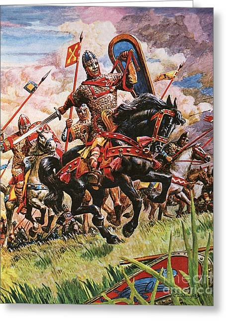 Williams Greeting Cards - William The Conqueror at The Battle of Hastings Greeting Card by Peter Jackson