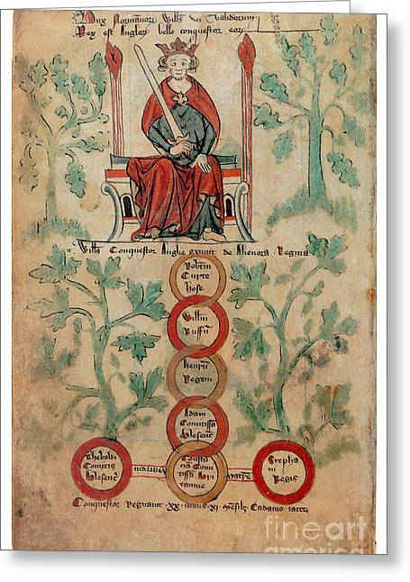 Descendant Greeting Cards - William The Conqueror Family Tree Greeting Card by Photo Researchers