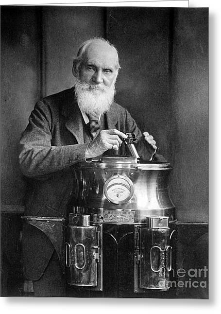 1907 Greeting Cards - William Thomson, Lord Kelvin With His Greeting Card by Science Source