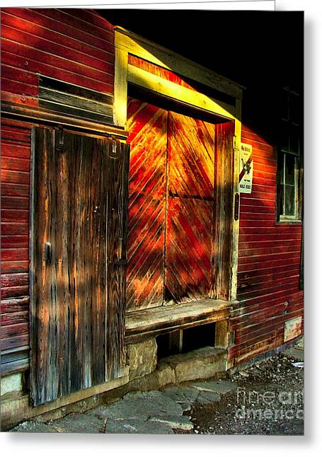 Photographs With Red. Photographs Greeting Cards - Williams Feed Mill in Williams Indiana Greeting Card by Julie Dant