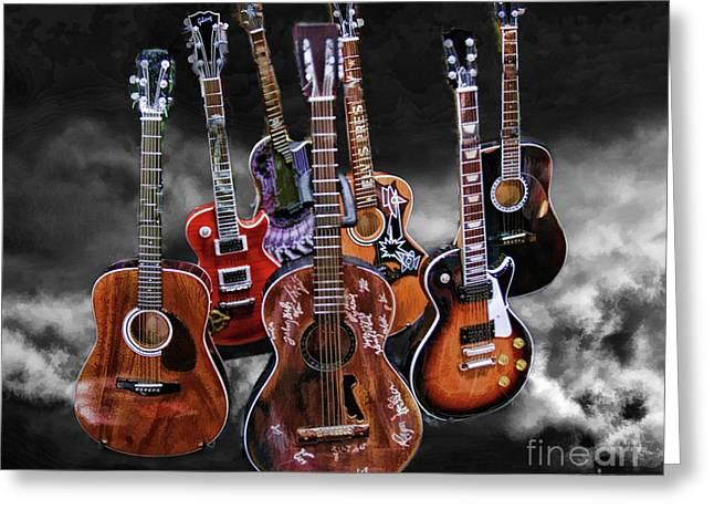 Blake Richards Greeting Cards - Willie Nelson Slash Martin Elvis Johnny Cash Guitars  Greeting Card by Blake Richards