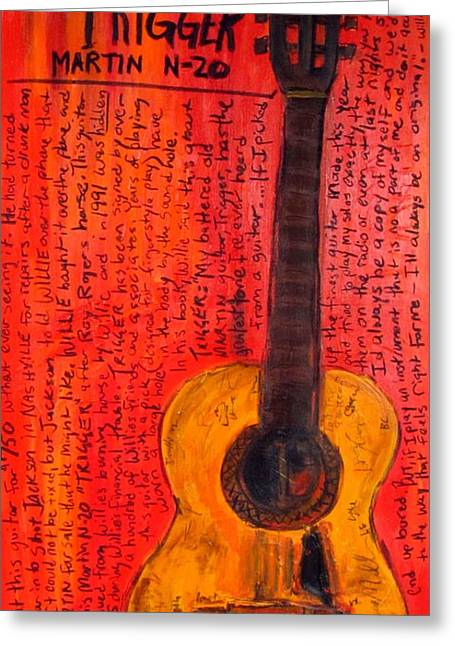 Iconic Guitar Greeting Cards - Willie Nelsons Trigger Greeting Card by Karl Haglund