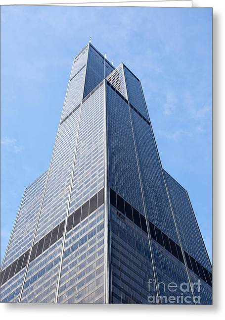 Editorial Photographs Greeting Cards - Willis-Sears Tower in Chicago Greeting Card by Paul Velgos