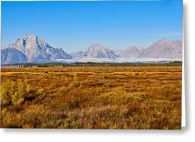 Grand Teton National Park Greeting Cards - Willow Flats Autumn Panorama Greeting Card by Greg Norrell