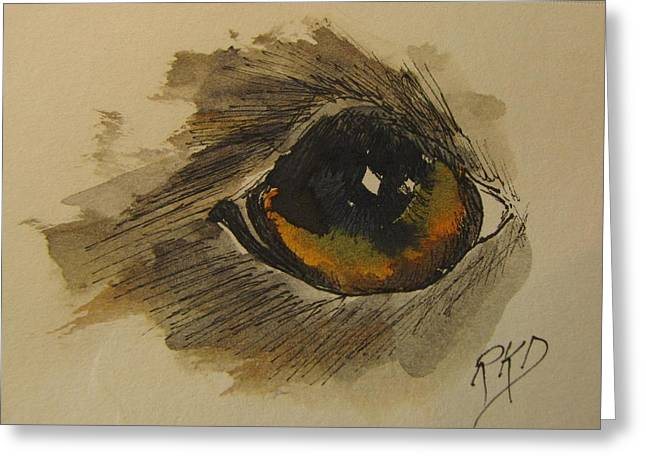 Twinkle Paintings Greeting Cards - Willow is watching Greeting Card by Ramona Kraemer-Dobson