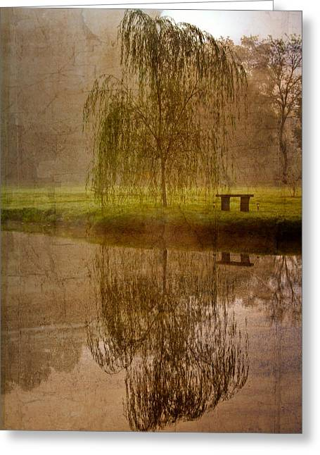 Willow Lake Greeting Cards - Willow on the Pond Greeting Card by Debra and Dave Vanderlaan
