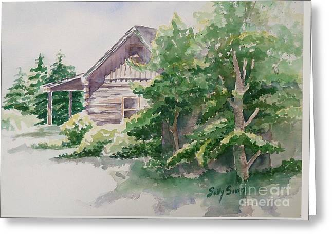 Log Cabins Greeting Cards - Wills Cabin Greeting Card by Sally Simon