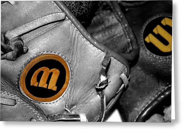 Baseball Glove Greeting Cards - Wilson 2 Greeting Card by Jame Hayes