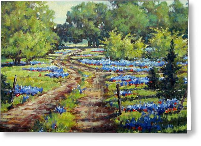 Wimberley's Bluebonnets Greeting Card by Vickie Fears