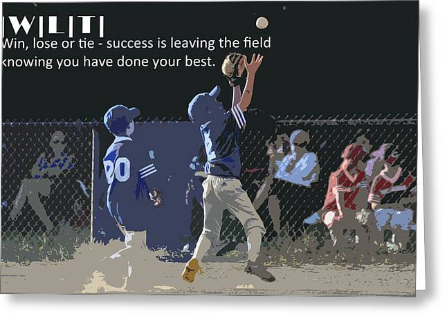 Baseball Fields Digital Art Greeting Cards - Win Lose Tie 3 Greeting Card by Peter  McIntosh