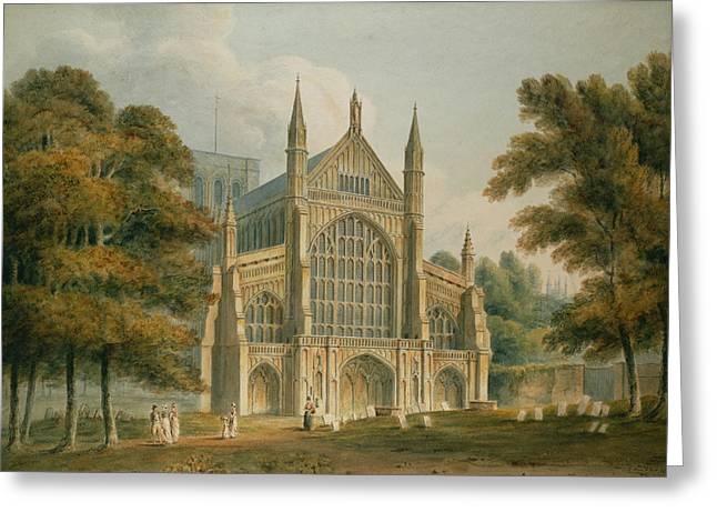 Watercolour Paintings Greeting Cards - Winchester Cathedral Greeting Card by John Buckler