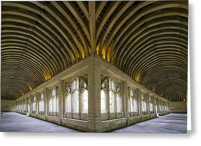 1300s Greeting Cards - Winchester College Cloister Arcades Greeting Card by Paul Rapson