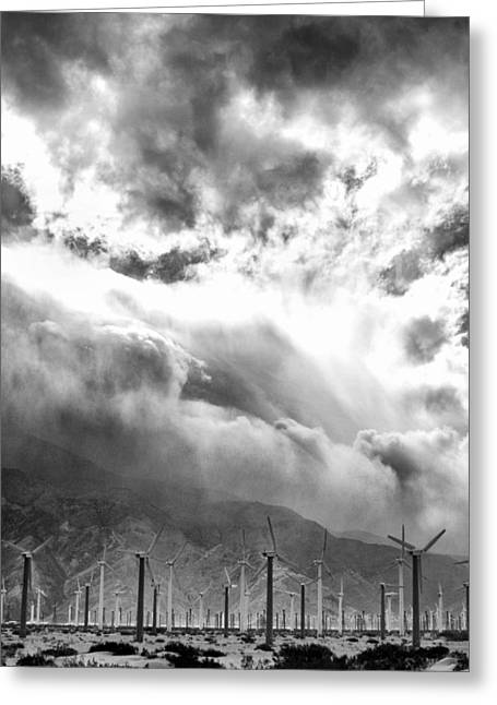 Storm Prints Greeting Cards - WIND AND CLOUDS Palm Springs Greeting Card by William Dey