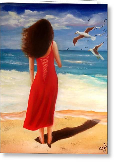 Figure Greeting Cards - Wind Blown Beach Greeting Card by Joni McPherson