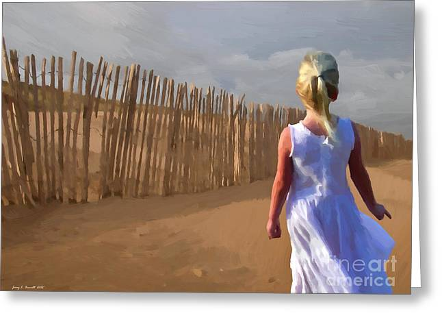 Sand Fences Mixed Media Greeting Cards - Wind Breaker Greeting Card by Jerry L Barrett