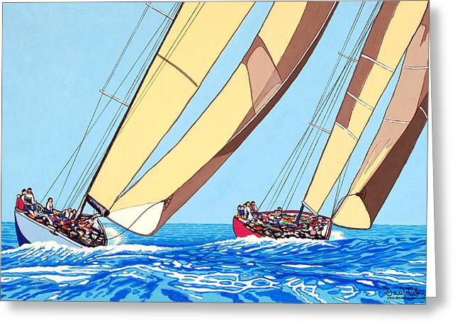 Ocean Sailing Pastels Greeting Cards - Wind Chasers Greeting Card by David Linton