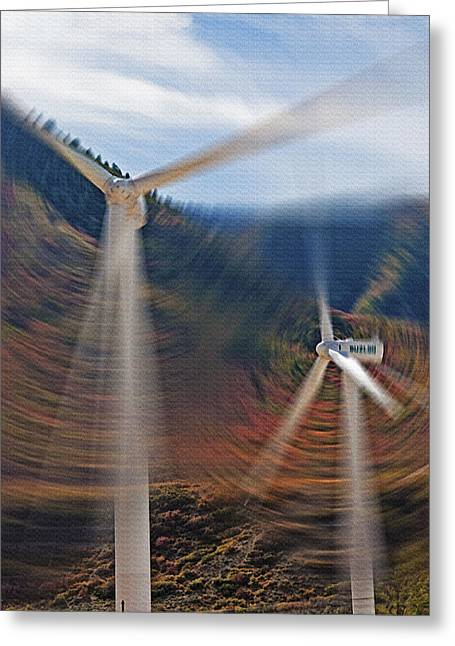 Industrial Concept Mixed Media Greeting Cards - Wind Farm 1 Greeting Card by Steve Ohlsen