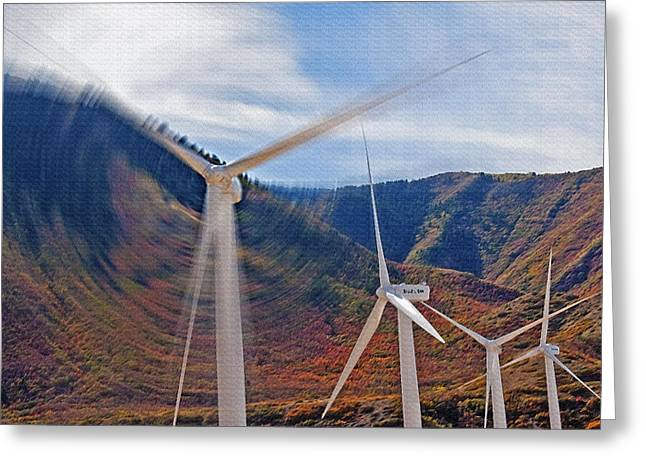 Industrial Concept Mixed Media Greeting Cards - Wind Farm 2 Greeting Card by Steve Ohlsen
