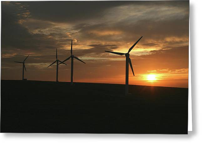 Generators Greeting Cards - Wind Farm At Sunrise Greeting Card by Brian Middleton
