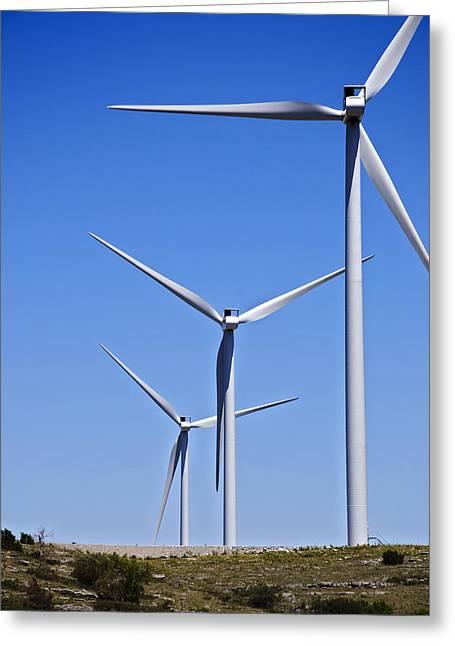 Option Greeting Cards - Wind Farm I Greeting Card by Ricky Barnard