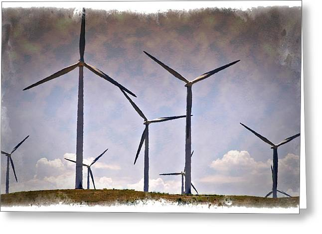 Rotation Greeting Cards - Wind Farm III - IMPRESSIONS Greeting Card by Ricky Barnard