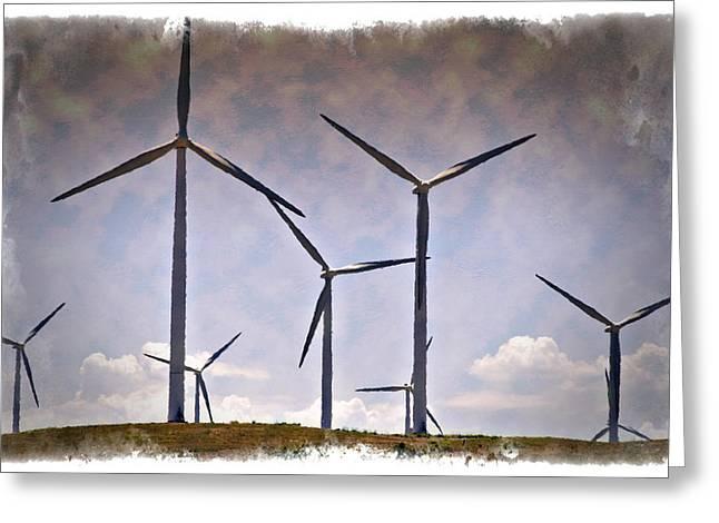 Option Greeting Cards - Wind Farm III - IMPRESSIONS Greeting Card by Ricky Barnard