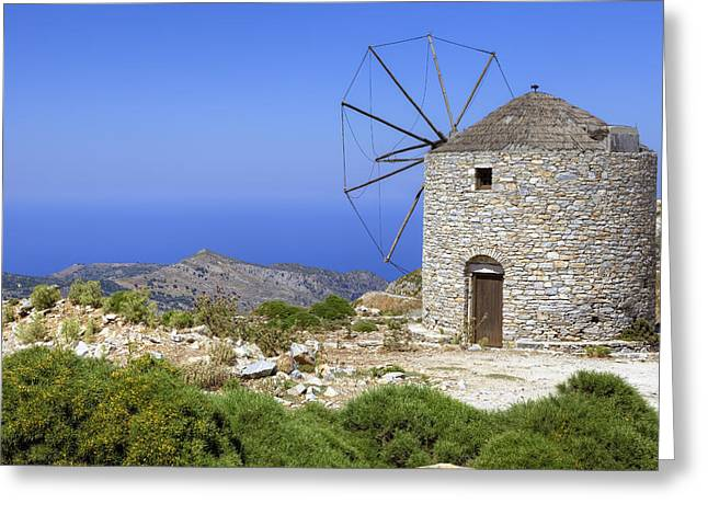 Historically Greeting Cards - wind mill Naxos Greeting Card by Joana Kruse