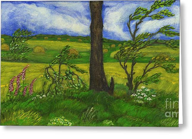 Polish American Folk Art Greeting Cards - Wind over the Fields Greeting Card by Anna Folkartanna Maciejewska-Dyba