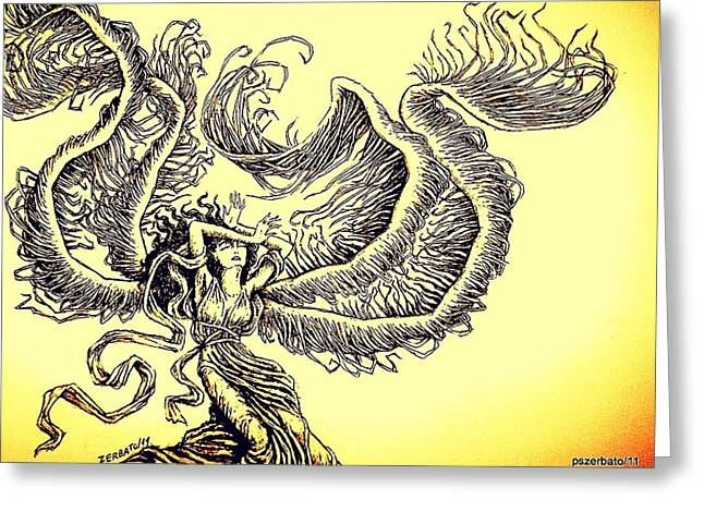 The Pain Of Living Greeting Cards - Wind Greeting Card by Paulo Zerbato